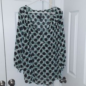 a.n.a Sheer Blouse - Plus Size - 3X